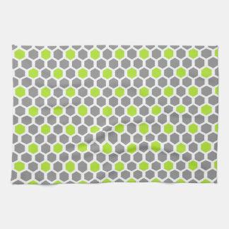 Lime and Grey Hexagon Pattern Kitchen Towel
