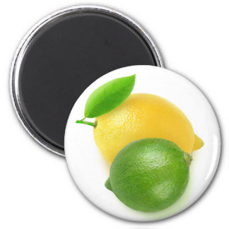Lime and lemon 6 cm round magnet