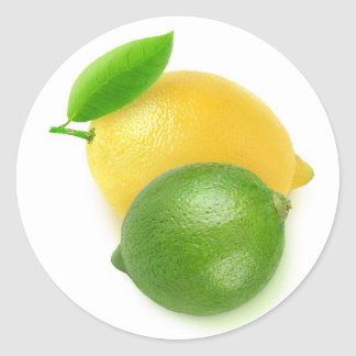 Lime and lemon round sticker