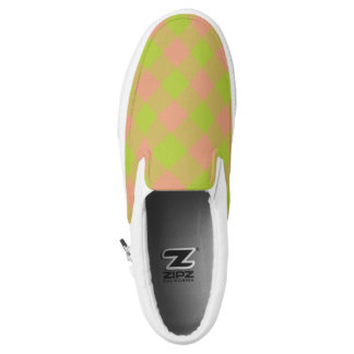 lime and pink checkered plaid printed shoes