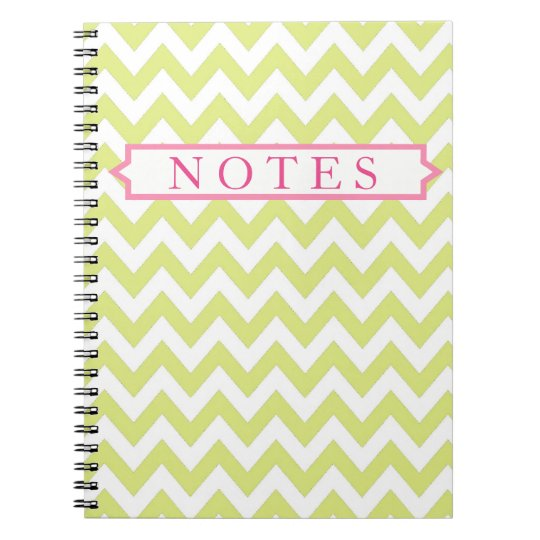 Lime and Pink Chevron Personalised Notebook