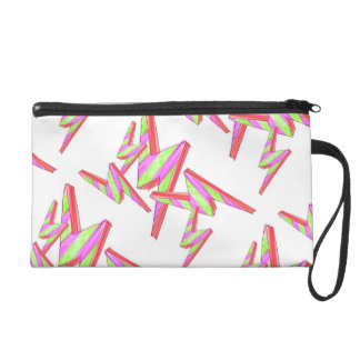 Lime and Pink Lightning Bolt Print Wristlet