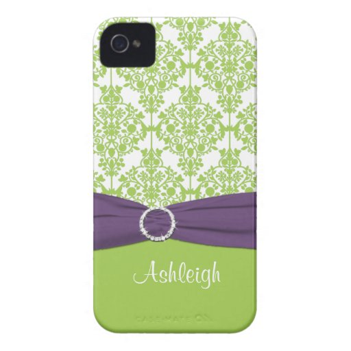 Lime and Purple Damask Blackberry Bold Case