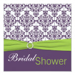 Lime and Purple Damask Bridal Shower Invitation 13 Cm X 13 Cm Square Invitation Card