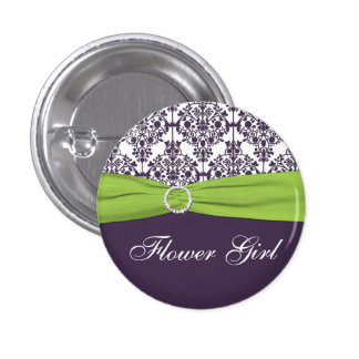 Lime and Purple Damask Flower Girl Pin - Small