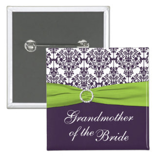 Lime and Purple Damask Grandmother of the Bride 15 Cm Square Badge