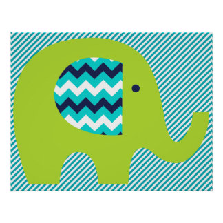 Lime and Teal Elephant Nursery Poster