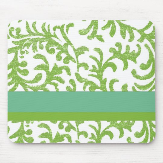 Lime and Teal Floral Pattern Mouse Mat