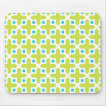 Lime and Turquoise Cross Section Pattern Mouse Pad