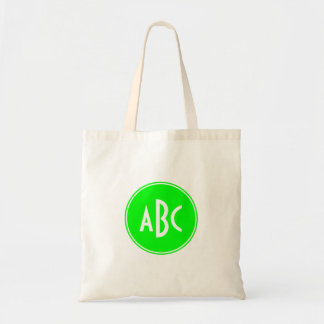 Lime and White Circle Monogram Budget Tote Bag