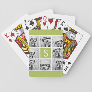 Lime and White Photo Collage Custom Monogram Playing Cards