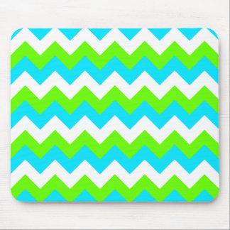 Lime Aqua Zigzag Pattern Mouse Mat