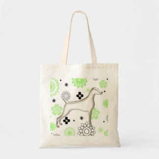 Lime & Black Floral Gray Weimaraner Tote