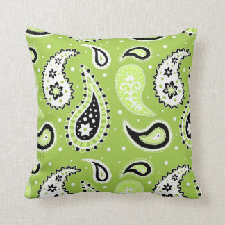 Lime Black Paisley Pattern Decorative Pillow