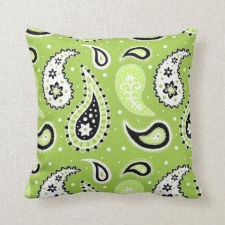 Lime Black Paisley Pattern Decorative Pillow