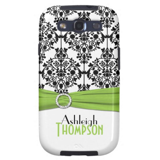 Lime, Black, White Damask Galaxy S3 Case Galaxy S3 Cases