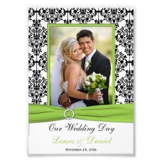 Lime Black White Damask Wedding Photo Print