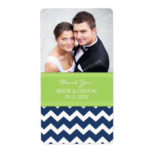 Lime Blue Chevron Photo Wedding Labels