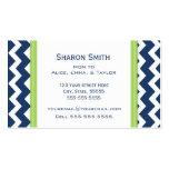 Lime Blue Chevron Retro Mum Calling Cards