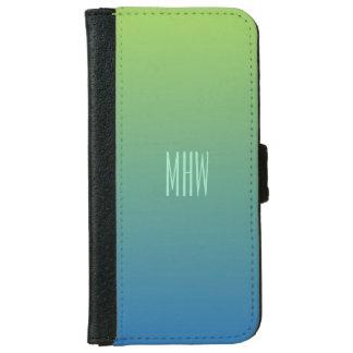 Lime Blue Gradient custom monogram phone wallets