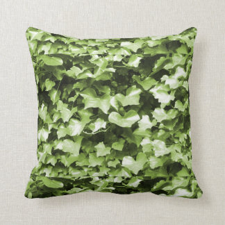 Lime & Blue Green Ivy Leaves Throw Cushion