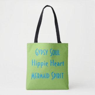 Lime Blue Gypsy Hippie Mermaid Spirit Summer Tote Bag