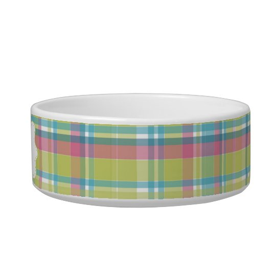 Lime & Blue Plaid Personalised Bowl