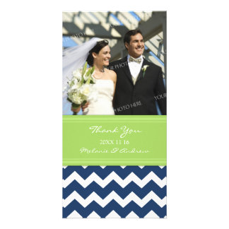 Lime Blue Thank You Wedding Photo Cards