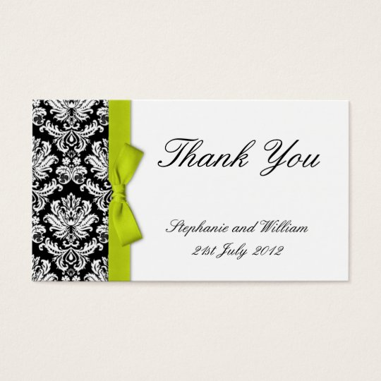 Lime Bow Damask Wedding Thank You Cards
