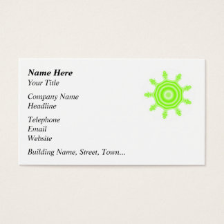 Lime Burst Fractal. Green and white. Business Card