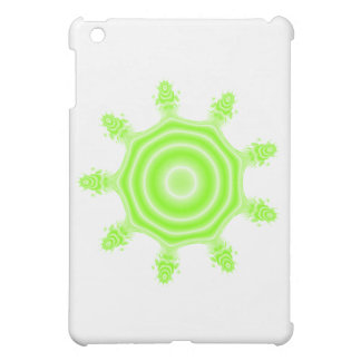 Lime Burst Fractal. Green and white. iPad Mini Covers