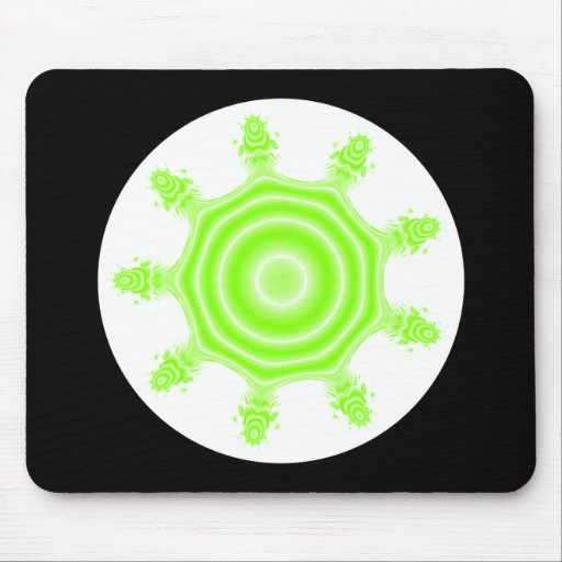 Lime Burst Fractal. Green, black and white. Mouse Pads