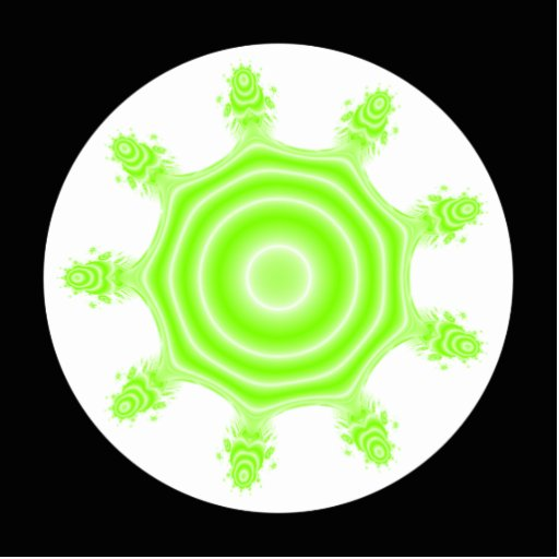 Lime Burst Fractal. Green, black and white. Cut Out