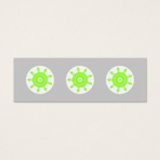 Lime Burst Fractal. Green, gray and white. Mini Business Card