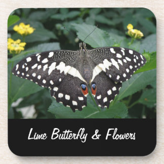 Lime Butterfly and Flowers Cork Coaster