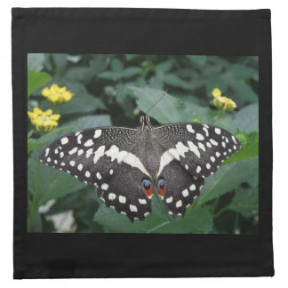 Lime Butterfly and Flowers Napkin