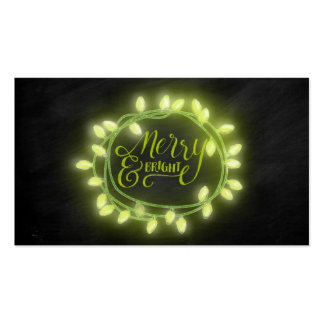 Lime Chalk Drawn Merry and Bright Holiday Pack Of Standard Business Cards