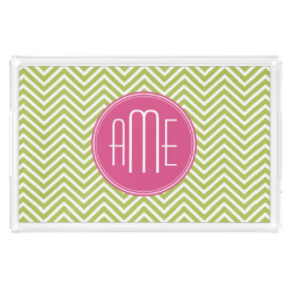 Lime Chevron Pattern with Triple Monogram Acrylic Tray