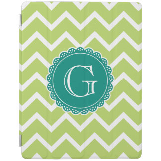 Lime Chevron Teal Monogram iPad Cover