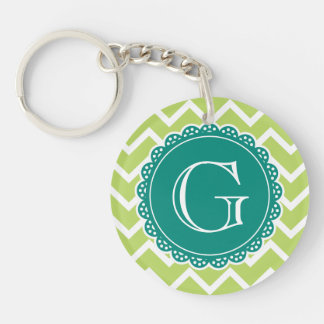 Lime Chevron Teal Monogram Key Ring
