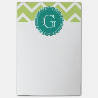 Lime Chevron Teal Monogram Post-it Notes
