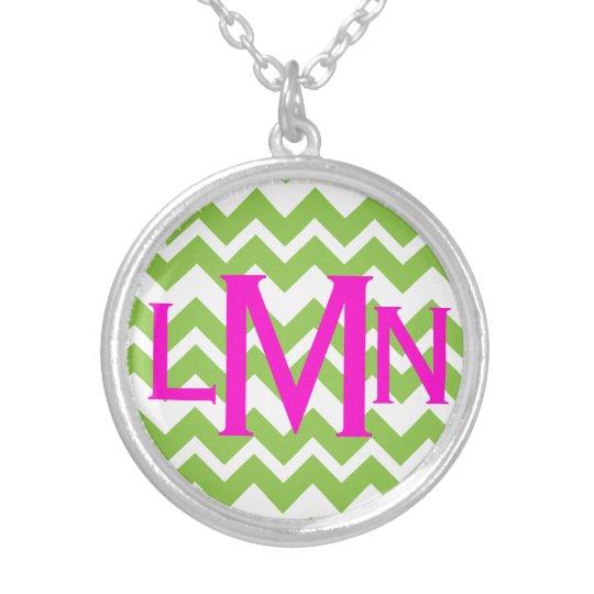 Lime Chevron Zig Zag Monogram Necklace