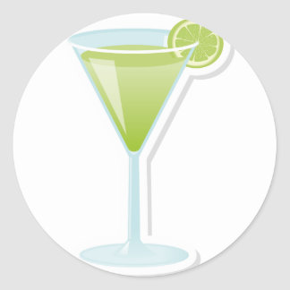 Lime cocktail classic round sticker
