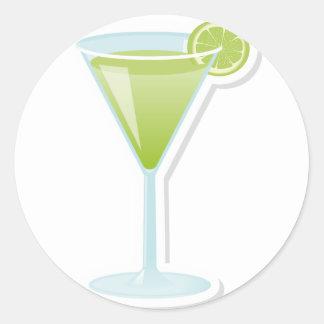 Lime cocktail round sticker