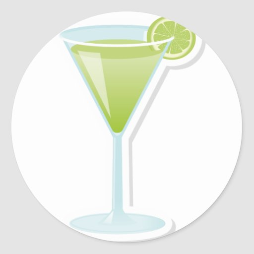 Lime cocktail round stickers