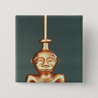 Lime Container of Cast Gold, Quimbaya 15 Cm Square Badge