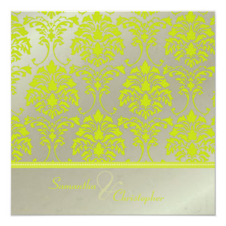 Lime damask on faux silver/wedding invitation
