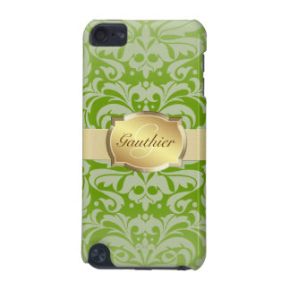 Lime Damask Silver Monogram Ipod  Case iPod Touch 5G Case