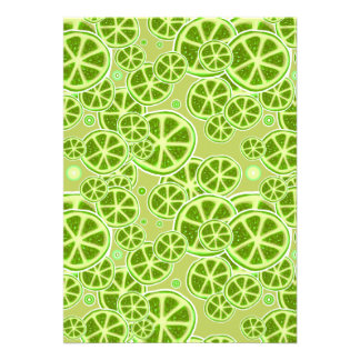 Lime Fruit Slice Pattern Personalized Invitations