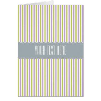 Lime & Fuchsia Stripes custom greeting card